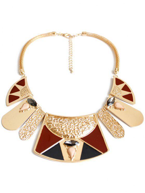 womens Bohemian Ethnic Geometry Pendant Necklace - GOLDEN