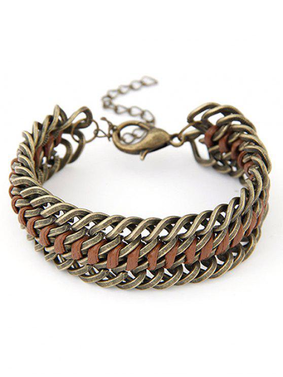 womens Punk Alloy Weaving Bracelet - COPPER COLOR