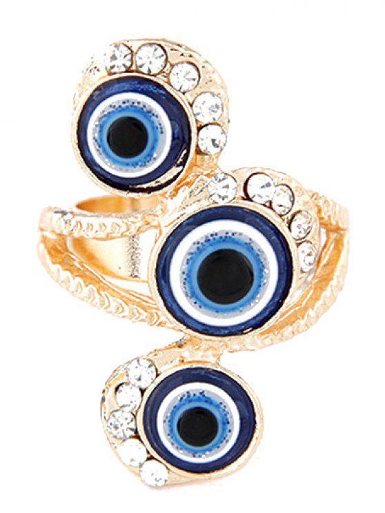 online Personality Rhinestone Eyes Ring - GOLDEN