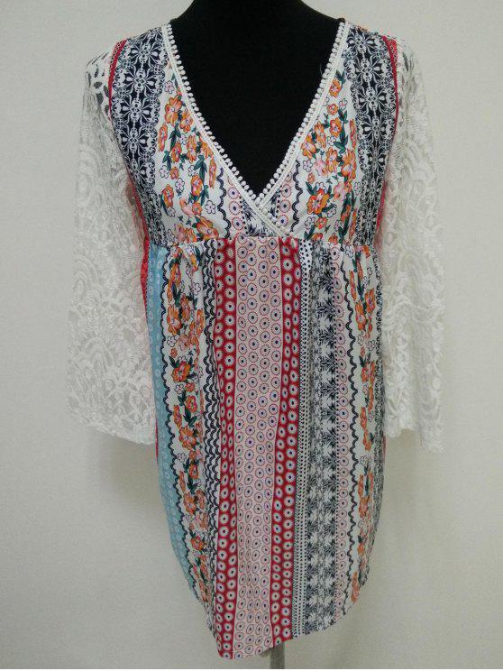 affordable Lace Splice Plunging Neck Bohemian Dress - COLORMIX S