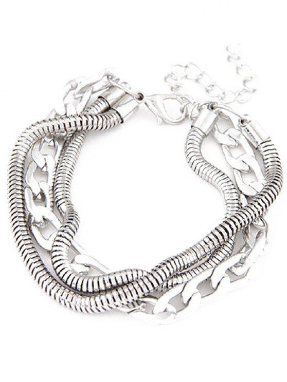 best Punk Style Multilayered Bracelet - SILVER