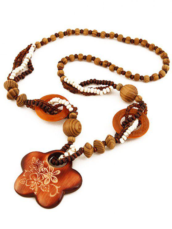lady Flower Wood Beaded Sweater Chain - BROWN