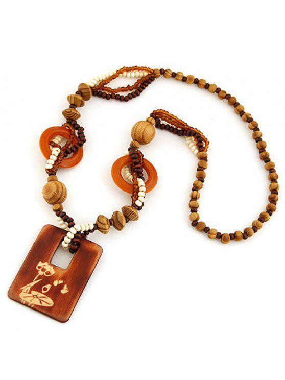 best Hollow Out Wood Beaded Sweater Chain - BROWN