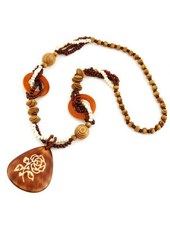 online Rose Wood Beaded Sweater Chain - BROWN