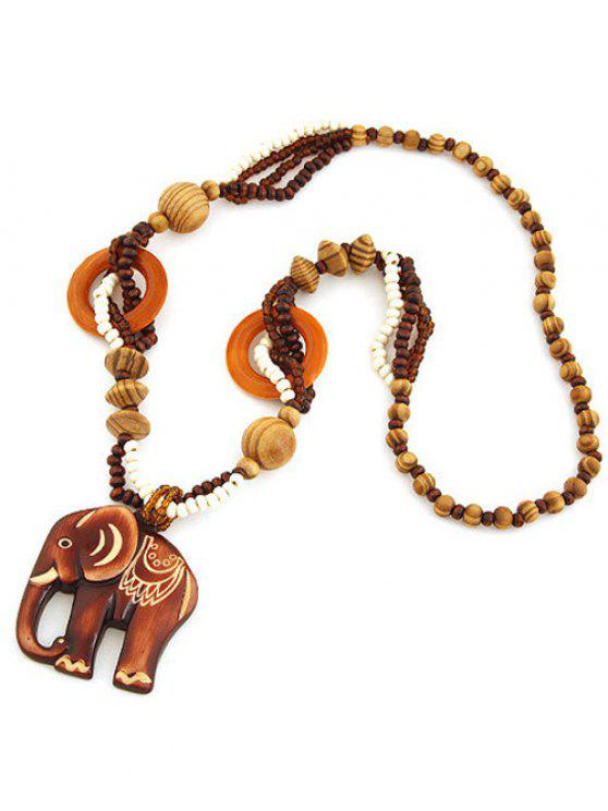 new Elephant Wood Beaded Sweater Chain - BROWN