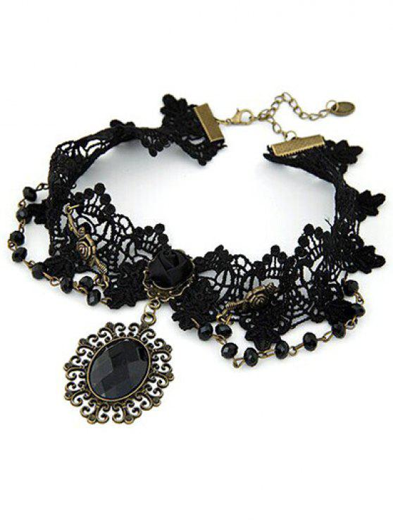 online Baroque Black Faux Gem Lace Necklace - BLACK