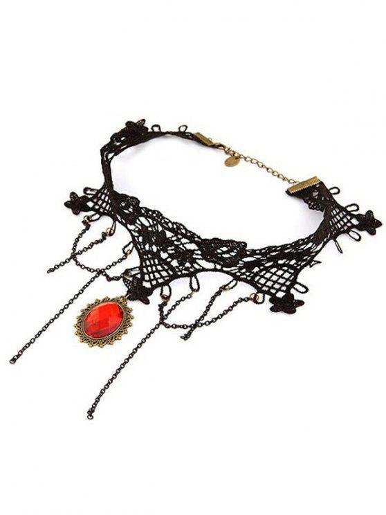 hot Baroque Tassels Faux Gem Lace Necklace - BLACK
