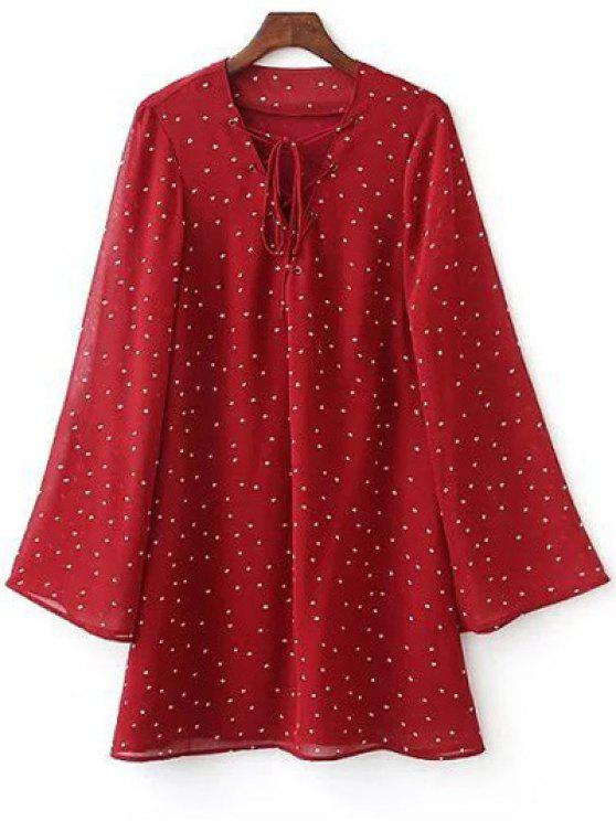 outfit Lace-Up Stars Print Red Dress - RED M