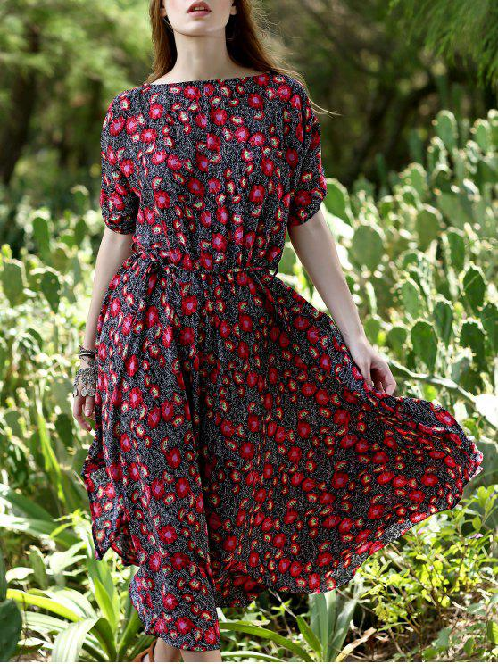 Kleine Blumen Midi-Kleid - Rot M