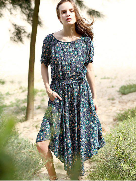 Pequeño vestido floral Midi - Azul Purpúreo S