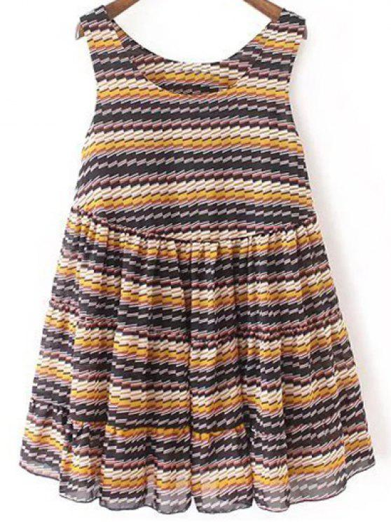 outfits Striped Tiered Sundress - BLUE L