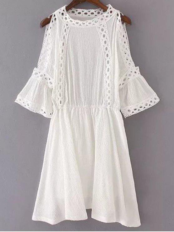 Hombro del recorte vestido del remiendo - Blanco S