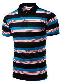 Trendy Men's Striped Turn-Down Collar Short Sleeve Polo T-Shirt - Black L
