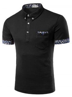 Turn-Down Collar Flower Print Edging Short Sleeve Button-Down Polo T-Shirt For Men - Black Xl