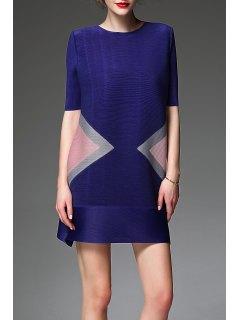 Color Block A Line-halbe Hülsen-Kleid - Veilchenblau