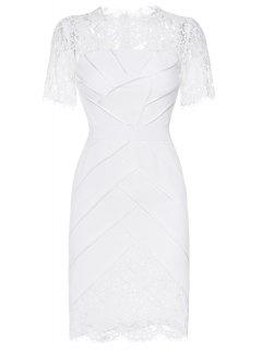 Lace Panelled Wedding Tea Length Dress - White S