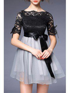 Wedding Bowknot Embellished Lace Spliced Dress - Black And Grey S