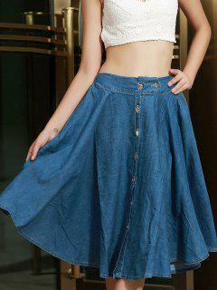 Bleach Wash Buttons Denim Long Skirt - Blue M