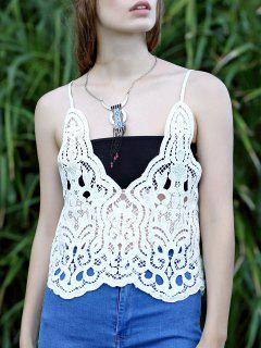 Solid Color Plunging Neck Lace Tank Top - White