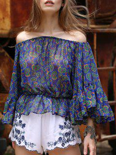 Cold Shoulder Paisley Trapeze Top - Bleu S