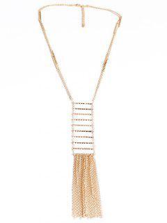 Tassel Ladder Shape Pendant Sweater Chain - Golden