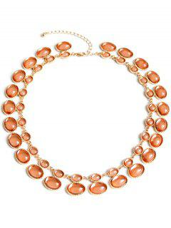 Oval Faux Gem Necklace - Brown