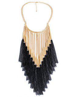 Color Match Long Tassel Necklace - Golden