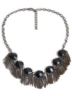 Black Acrylic Alloy Fringed Necklace - Gun Metal