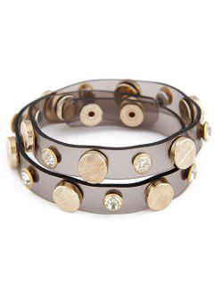 Button Rhinestone Plastic Bracelet - Coffee