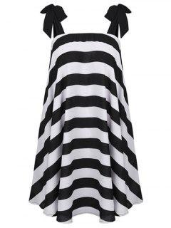 Tie Shoulder Strap Dress - White And Black M