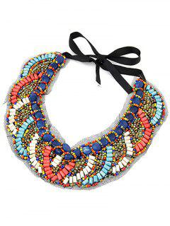 Exaggerated Beaded Fake Collar Necklace - Blue