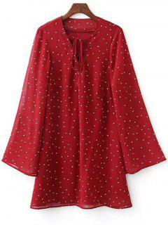 Lace-Up Stars Print Red Dress - Red S