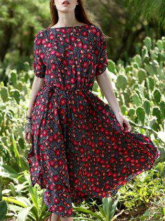 Floral Print Midi Dress With Sleeves - Red M