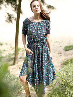 Floral Print Midi Dress With Sleeves - Purplish Blue L