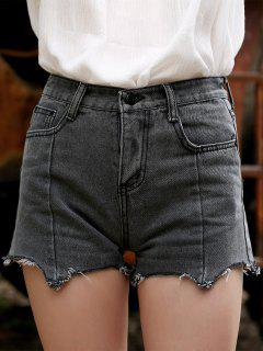 Frayed Grey Denim Shorts - Gray L