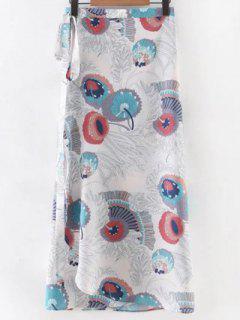 Printed Long Skirt - White S