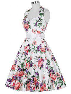 Completo Cabestro Vestido Floral De La Llamarada De La Vendimia - S