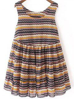 Striped Tiered Sundress - Blue S