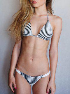 Attractive Spaghetti Strap Stripes Bikini Set - White And Black L