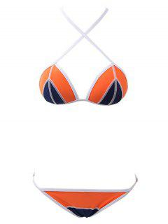 Hit Color Cami Push Up Bikini Set - Orange S