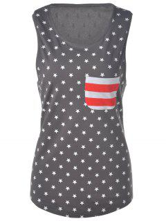 U Neck American Flag Tank Top - Gray S