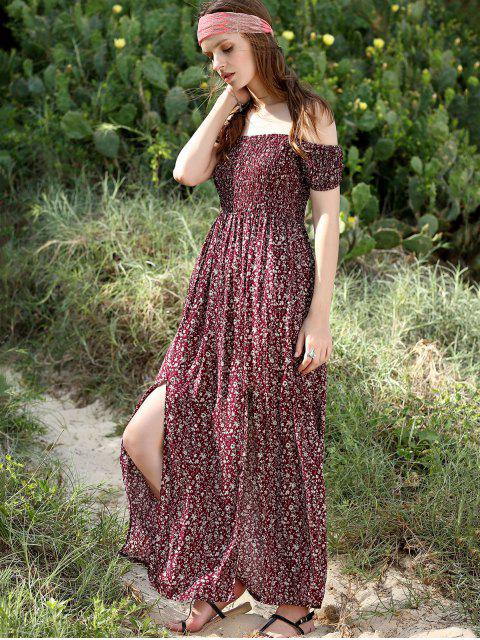 best Slit Off The Shoulder Short Sleeve Maxi Dress - WINE RED S Mobile