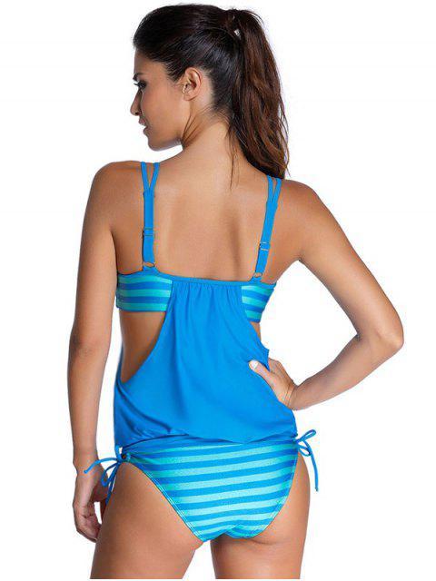 affordable Striped Spaghetti Strap Blouson Tankini Bathing Suits - BLUE 2XL Mobile