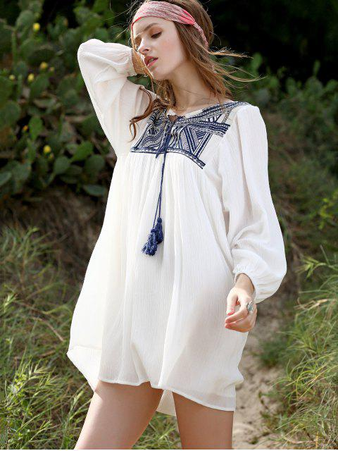 unique Embroidery Long Sleeve Round Neck Swing Dress - WHITE S Mobile