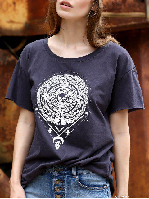 Fitting Totem Print Rundhals Kurzarm T-Shirt - Grau XL  Mobile