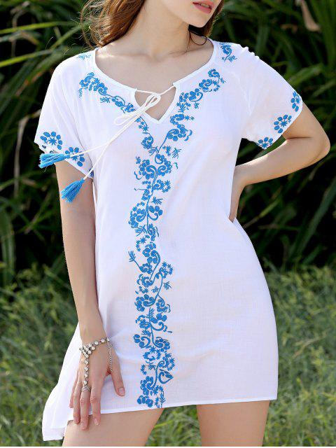 ladies Fringe Embroidered Shift Dress - WHITE ONE SIZE(FIT SIZE XS TO M) Mobile