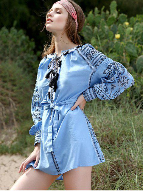 affordable Embroidery Round Neck Lantern Sleeve Belted Dress - LIGHT BLUE M Mobile