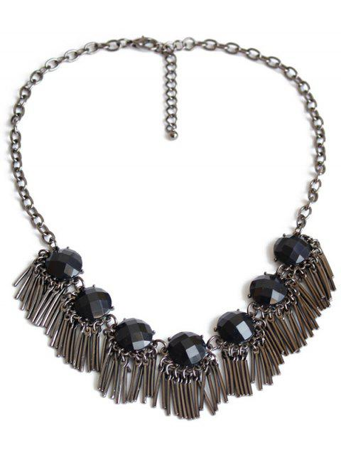 ladies Black Acrylic Alloy Fringed Necklace - GUN METAL  Mobile