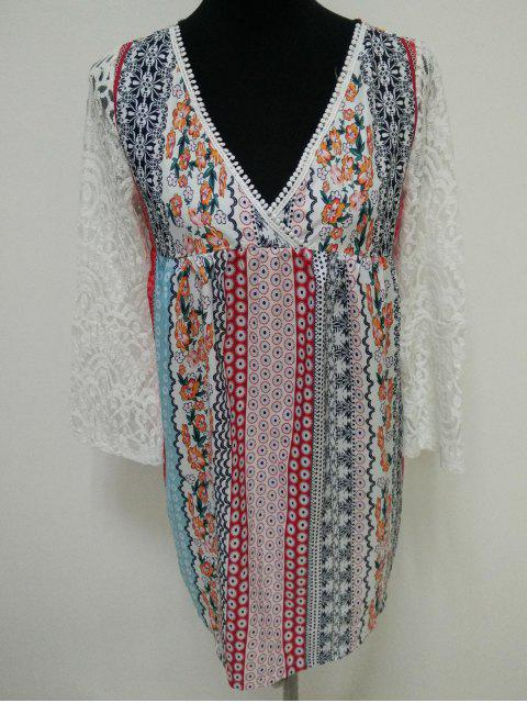 affordable Lace Splice Plunging Neck Bohemian Dress - COLORMIX S Mobile