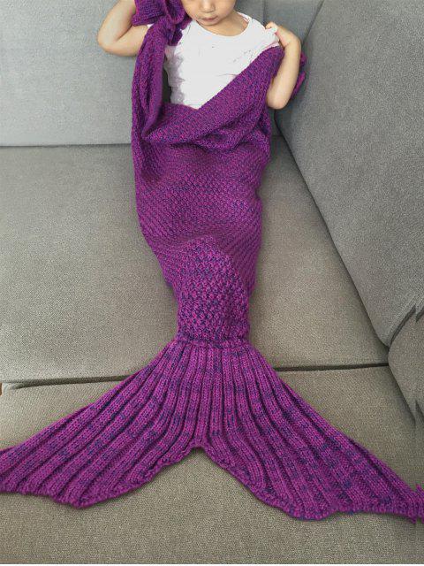 latest Knitted Falbala Mermaid Tail Blanket - VIOLET  Mobile